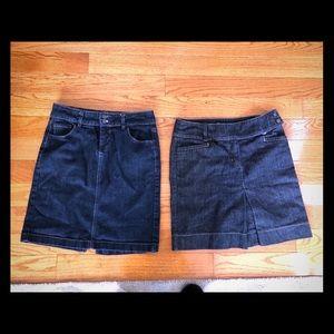 2 women's denim skirts